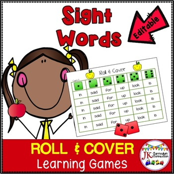 Sight Word Roll & Cover Games: Apple Theme {EDITABLE}