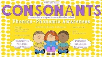 Consonant Letter Sounds - NO PREP! 21 Lessons Printable!