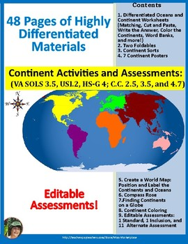 Continents, Oceans, and Map Skills: VA SOL 3.5, USI.2, HS-