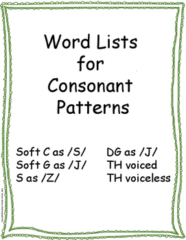 Consonant Patterns Word Lists