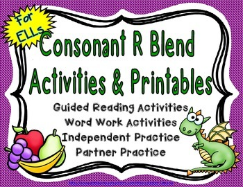 Consonant R Blend Activities and Printables for English La