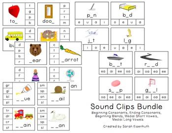 Consonant, Vowel, and Blend Clip Card Bundle
