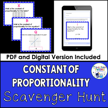 Constant of Proportionality Scavenger Hunt 7 RP 2