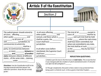 Constitution Article Three Graphic Organizer