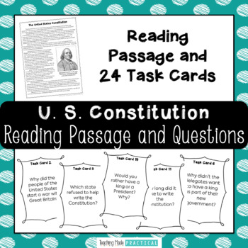 Constitution Day: Reading Comprehension and Task Cards
