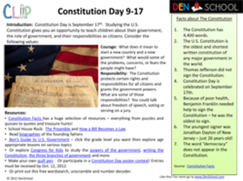 Constitution Day CLIP (Creative Learning in a Pinch) Sept. 17th