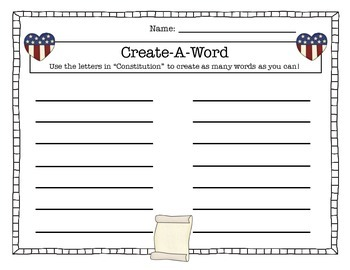 Constitution Day CREATE-A-WORD