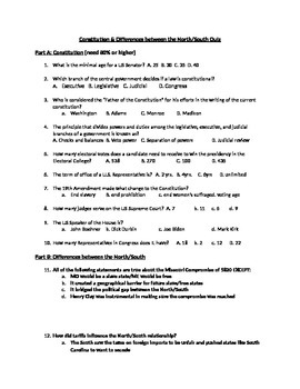Constitution & Differences between the North/South Quiz