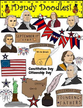 Constitution and Citizenshp Day Clip Art by Dandy Doodles