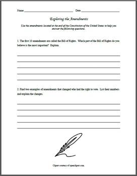 Constitutional Amendments Exploration Worksheet
