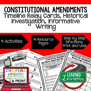 Constitutional Amendments Timeline, Research, & Writing Ac