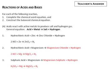 Construct the Balanced Chemical Equation for the Reactions