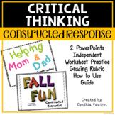 Math Constructed Response - Fall:  No Prep