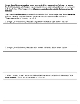 Constructed Response Math Word Problems (with science bala