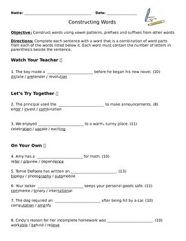 Constructing Words Activity