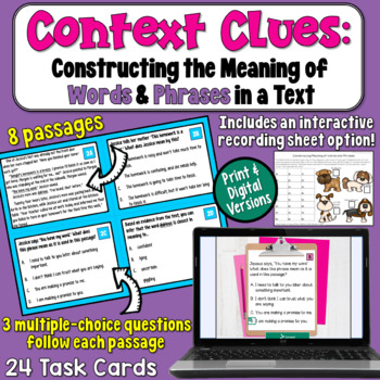 Constructing the Meaning of Words and Phrases in a Text Ta