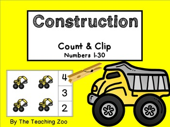 Construction Count & Clip Numbers 1- 30 Task Cards