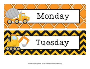 Construction Truck Days of the Week Calendar Headers