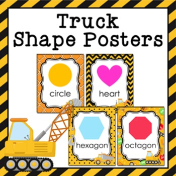 Construction Truck Theme Shape Posters