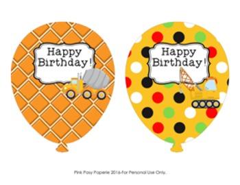 Construction Trucks Birthday Balloons