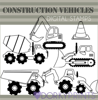 Construction Vehicles Black Line Clip Art