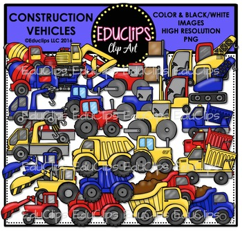 Construction Vehicles Clip Art Bundle {Educlips Clipart}