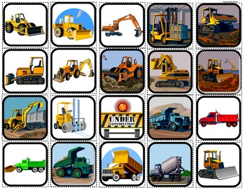 """Construction Vehicles"" Picture Matching/Flashcards/Memory"