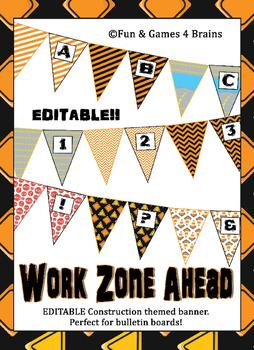 Construction themed EDITABLE bulletin board Pennant