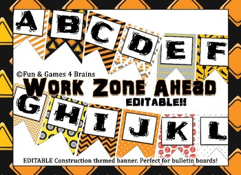 Construction themed EDITABLE bulletin board banner