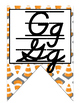 Construction themed manuscript and cursive Alphabet banner