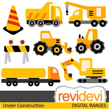 Construction trucks clip art (yellow, black) clipart for teachers