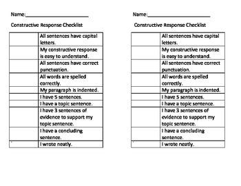 Constructive Response Checklist
