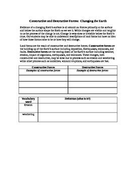 Constructive and destructive processes worksheet
