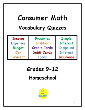 Consumer Math Vocabulary Quizzes