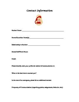Contact Info Sheet