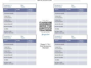 Contact Information Chart to Aid Substitutes