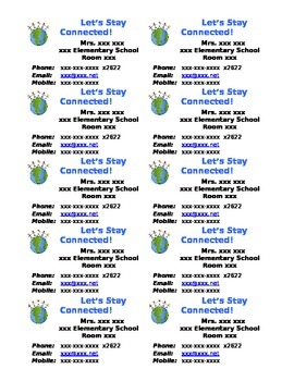 Contact Information Refrigerator Magnets for Parents