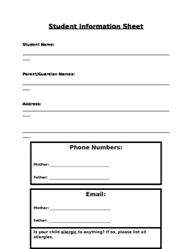 Contact Information Sheet