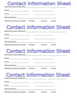 Contact Information from Parents