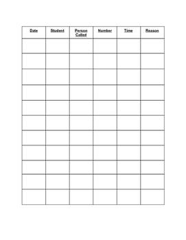 Contact Log Sheet