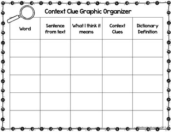 Context Clue Graphic Organizer