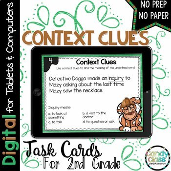 Context Clue Task Cards with Reading Comprehension for Google Use