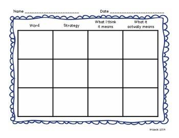 Context Clues Graphic Organizer Reader's Workshop