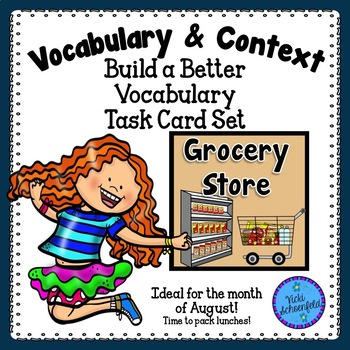 Context Clues Task Cards Grocery Store Themed Vocabulary