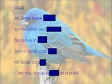 Context Clues: Guess the Covered Word- Birds
