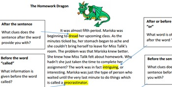 Context Clues Mentor Text and Student Station Work