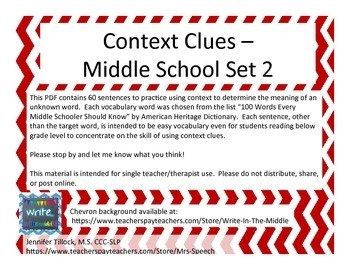 Context Clues - Middle School Set 2