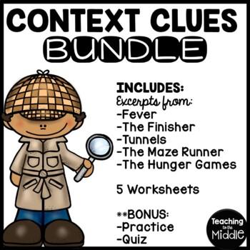 Context Clues Practice Bundle- 5 worksheets, Middle School