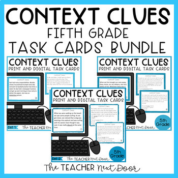 Context Clues Task Card Bundle for 5th Grade