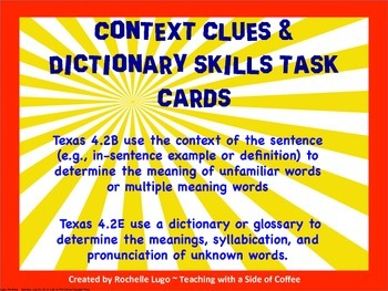 Context Clues Task Cards with QR Code option